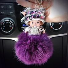 Hat Monchichi Key Chain Sleutelhanger Strass Keyring Fluffy Ribbit Fur Ball Pom Pom Women Bag Charm Porte Clef Fo-K002-purple
