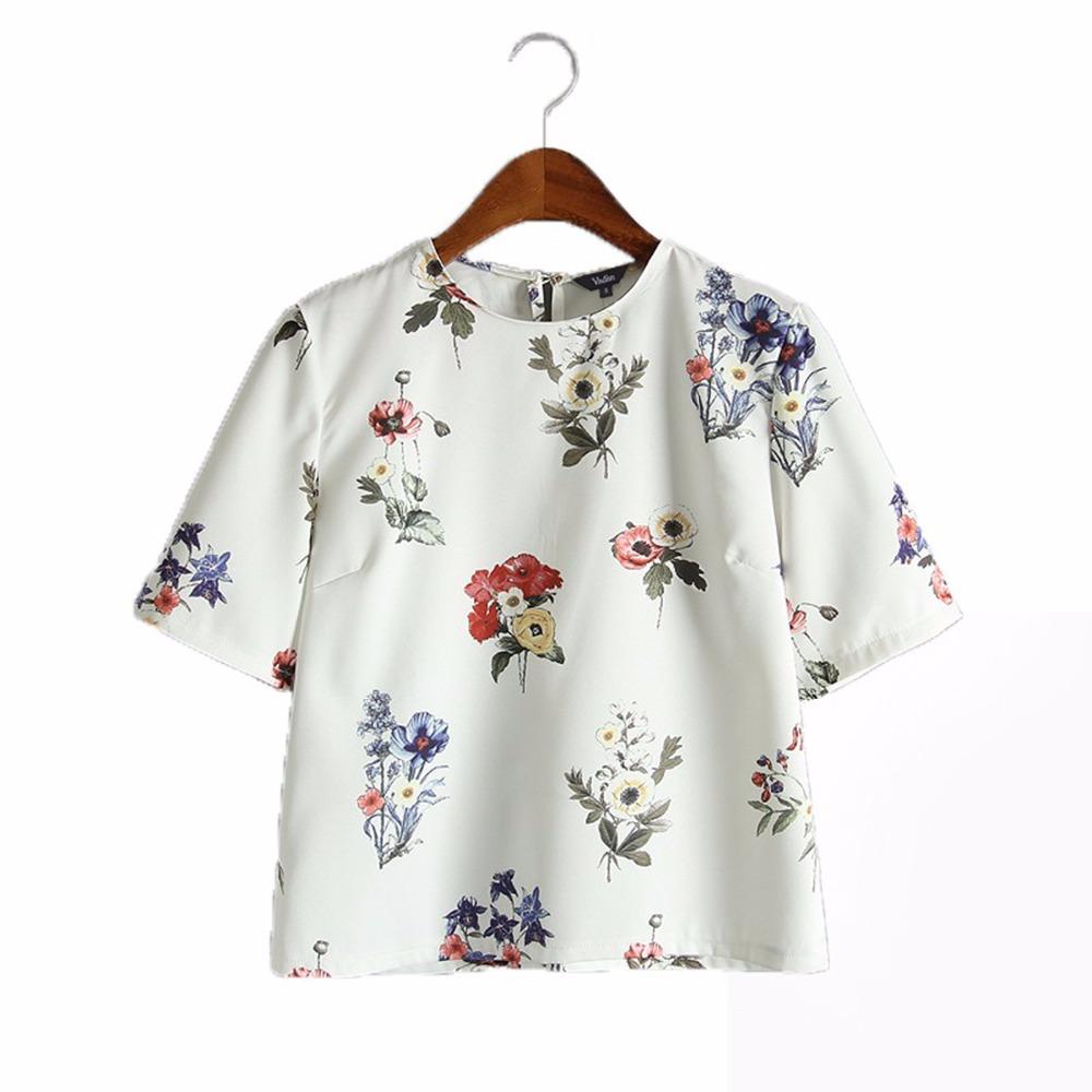 HTB1o0gtRVXXXXaNapXXq6xXFXXXh - women sweet floral print loose shirts short sleeve blouse