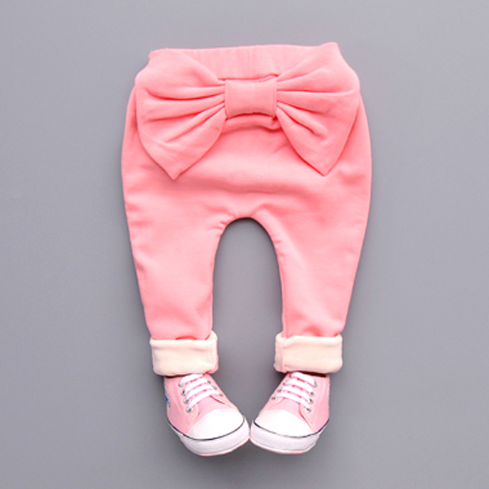 2016 spring autumn Winter Pants Girls Kids Sweet Big Bow Cotton Cute Pp Long Pant comfortable baby Clothes Children Clothing