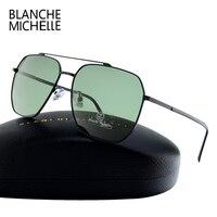 2017 Ze Stali Nierdzewnej Kwadratowe Ramki Okularów Przeciwsłonecznych Mężczyzna Spolaryzowane UV400 Okulary Lustro Marka Projektant Jazdy Okulary Z Pudełkiem