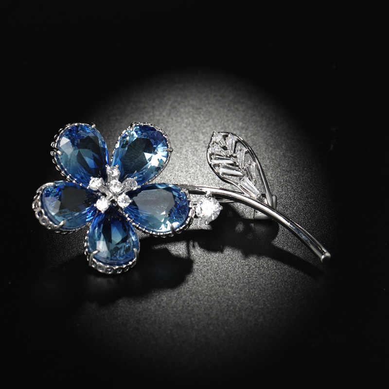 Dazz Mewah Biru Transparan AAA Zircon Tanaman Bros Bunga untuk Pernikahan Perjamuan Pakaian Syal Rok Pin Ornamen Hadiah Terbaik 2019