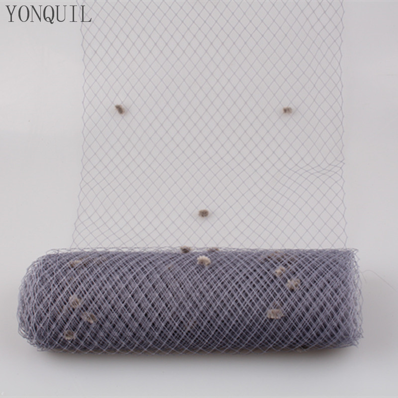 Grey 5 Yards Per Lot Birdcage Veil With Dot 25CM Width Russian Veiling Netting Wedding Dot Veils Material Free Shipping LDV01