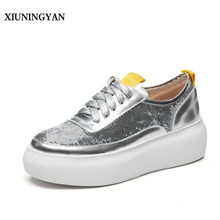 XIUNINGYAN 2018 Women Flat Platform Shoes Women Brogues Creepers Bling Cow  Leather Flat Shoe Lace-up Black Silver Retro Flats e0cbe5e34bbd