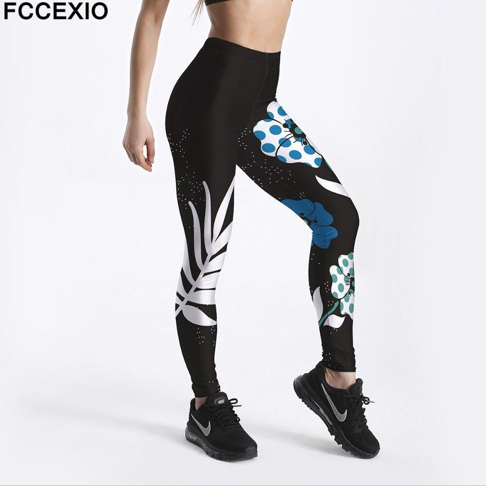 FCCEXIO New Women Workout Leggings High Waist Fitness Legging Butterfly Leaves Print Leggins Female Leg Pants Large Size Legging