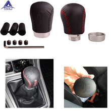 SMKJ Leather Stitched 5 Speed Car Gear Shift Knob Shifter Lever Universal Fit for Manual Transmission Drive Manual Car Shifter