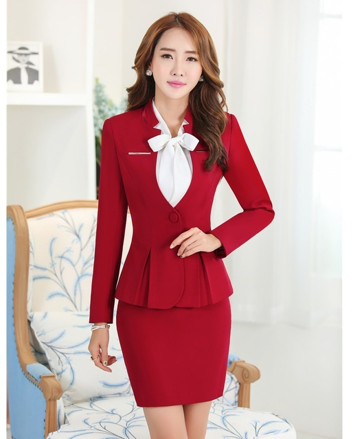 Aliexpress.com : Buy Formal Women Elegant Skirt Suits Blazers and ...
