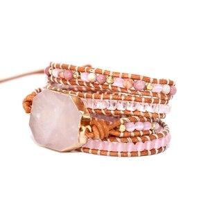 Image 2 - 2019 kamień naturalny bransoletka 5 okłady bransoletka Boho, ręcznie robiony, różowy bransoletka kwarcowa dla kobiet skórzane bransoletka prezent Dropshipping