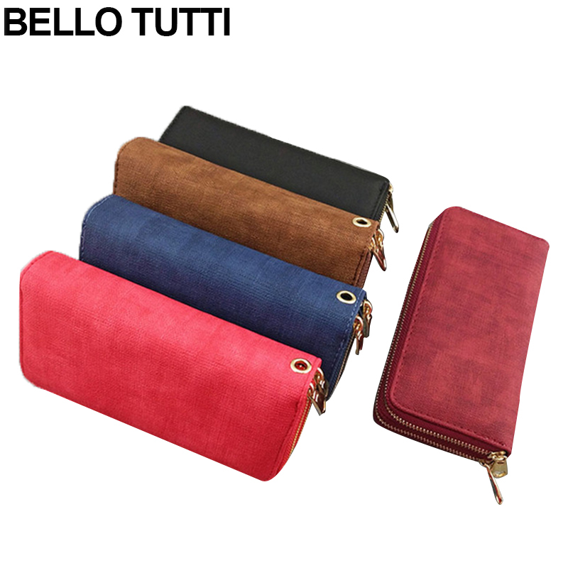 BELLO TUTTI Large Capacity Fashion Women Wallets Long PU Leather Wallet Female Double Zipper Clutch Coin