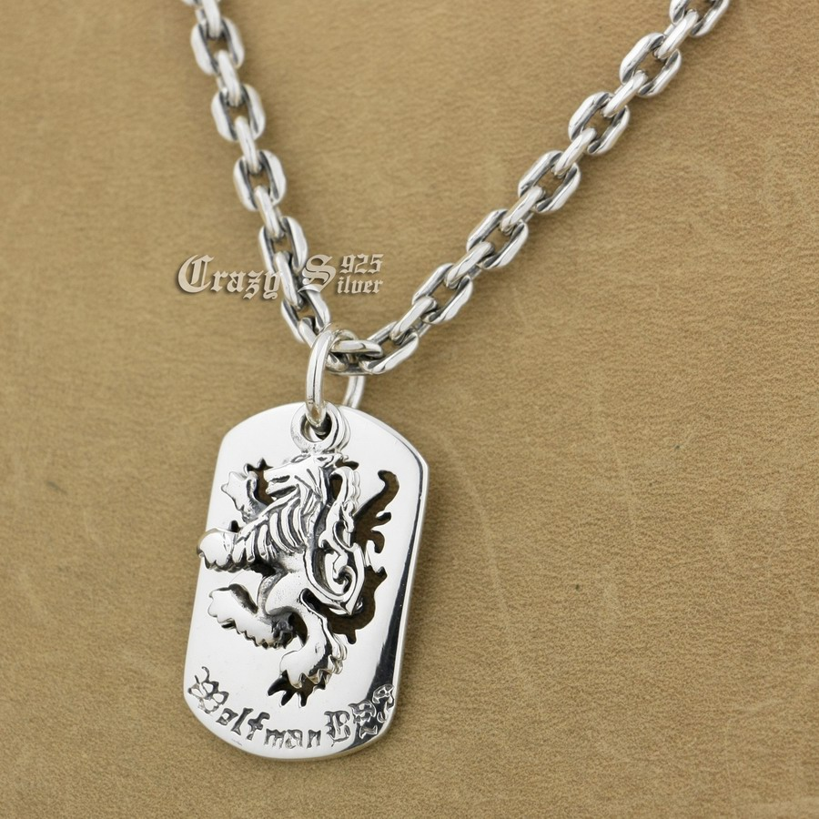 925 Sterling Silver King Lion Dog Tag Biker Pendant 9S120A 925 Sterling Silver Necklace 24 inches