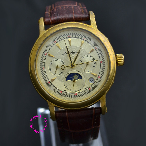 Coupon for wholesale buyer price good quality luxury men antique genuine leather AUTOMATIC self Wind moon phase mechanical watchCoupon for wholesale buyer price good quality luxury men antique genuine leather AUTOMATIC self Wind moon phase mechanical watch