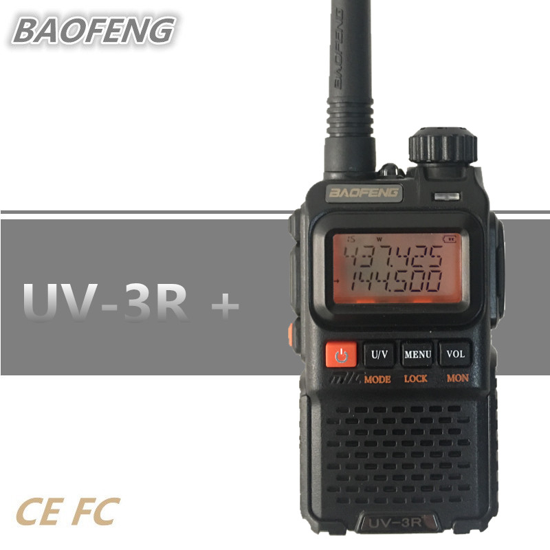BAOFENG UV-3R+ Plus Mini Walkie Talkie UHF VHF Dual Band Portable Ham CB Radio Mobile Transceiver UV3R Plus Scaner Radio Station