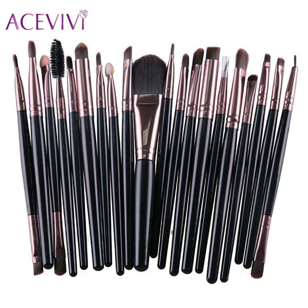 ACEVIVI 20pcs Professional Powder Eyeshadow Eyeliner Lip Brush Tool Beauty Makeup Brushes Set Foundation Blush Maquiagem acevivi 12pcs makeup brush kit professional cosmetic set powder foundation eyeshadow eyeliner lip brush tool pincel maquiagem