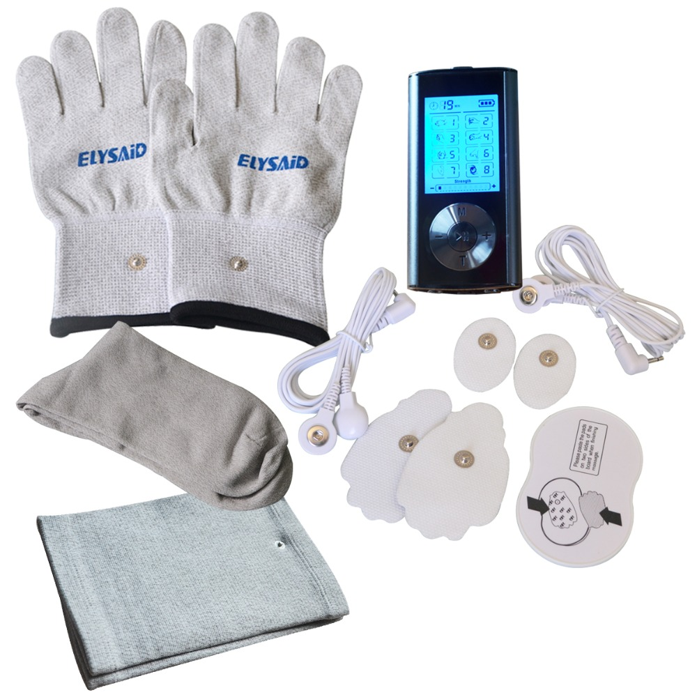Dual Channel Electrical Stimulator Full Body Relax Muscle Massager Pulse Tens Acupuncture Machine With Tens Sets Glove Sock Knee hot electric slimming full body relax pulse muscle stimulator tens therapy machine massager vibrateur with 20pcs tens pads