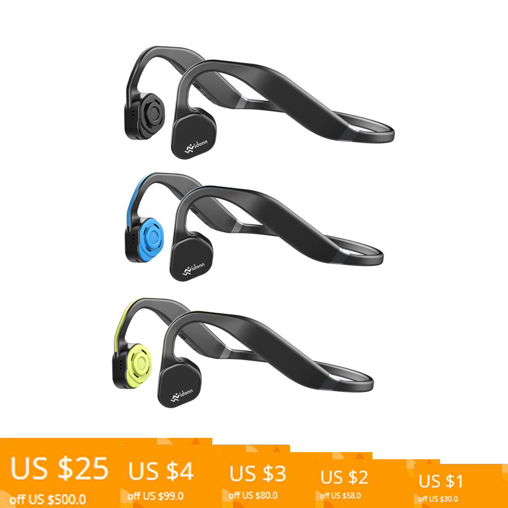 Casque de Conduction osseuse en titane F1 sans fil Bluetooth écouteur casque de sport de plein air IP55 étanche avec micro mains libres-in Écouteurs et casques from Electronique    1