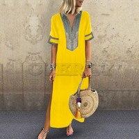CUERLY 5XL Women V Neck Print Patchwork Long Dresses Vintage Side Split Boho Dress Summer Short sleeve beach Maxi Dress CUERLY