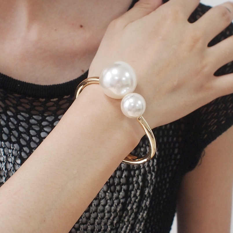 UKMOC Romantic Alloy Imitation Pearls Bracelets Fashion Accessories Dress Metal Cuff Bangles For Women Charm Jewelry