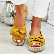 Summer Women's Hemp Rope Sandals Women Shoes Med Heel Flats With Wedges Female Shoes Buckle Strap Sandals Peep Toe Ladies Shoes
