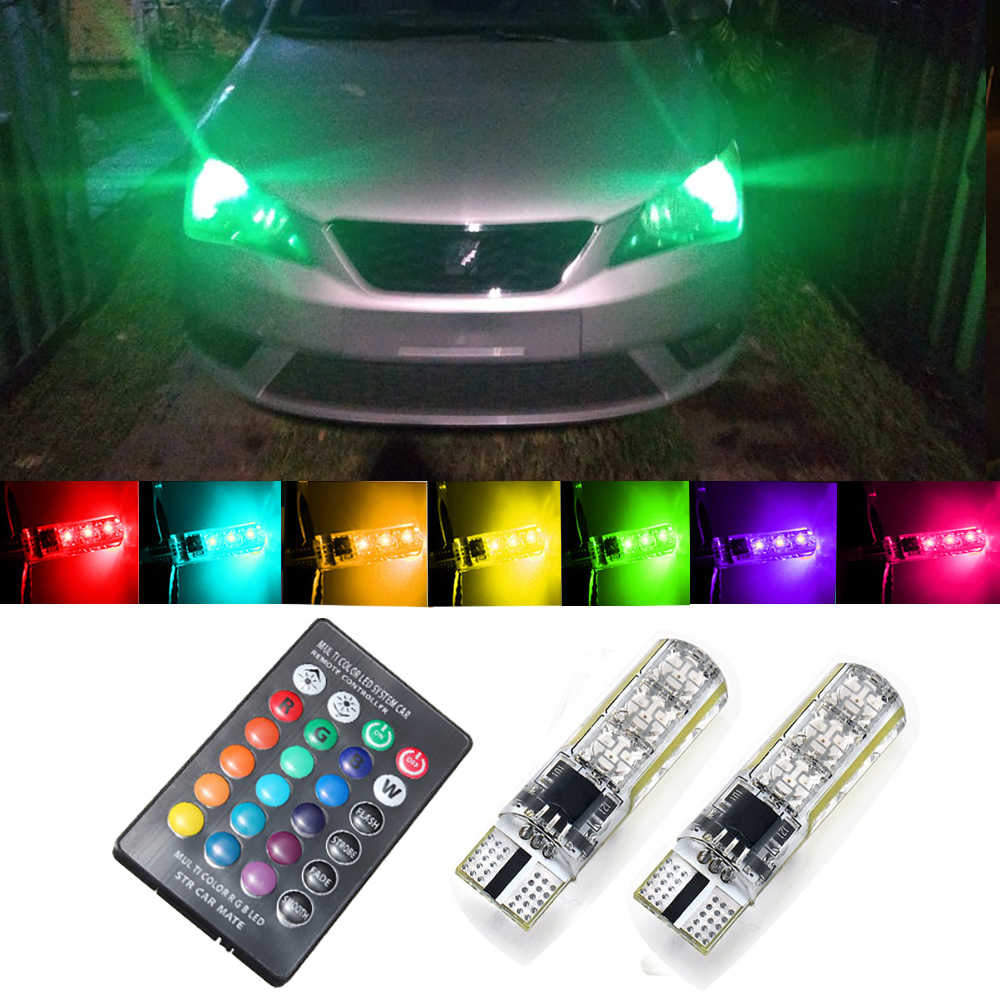 2x Remote Control T10 W5W LED Bulb RGB Car Clearance Parking Light For Honda Accord 8 Civic 2006-2011 2008 CRV Jazz City Insight