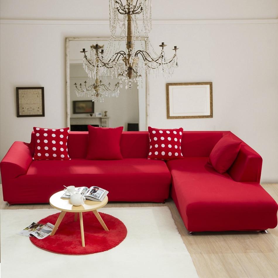 Canapé Multi Couleur tout rouge solide couleur élastique coin housse de canapé pour le salon