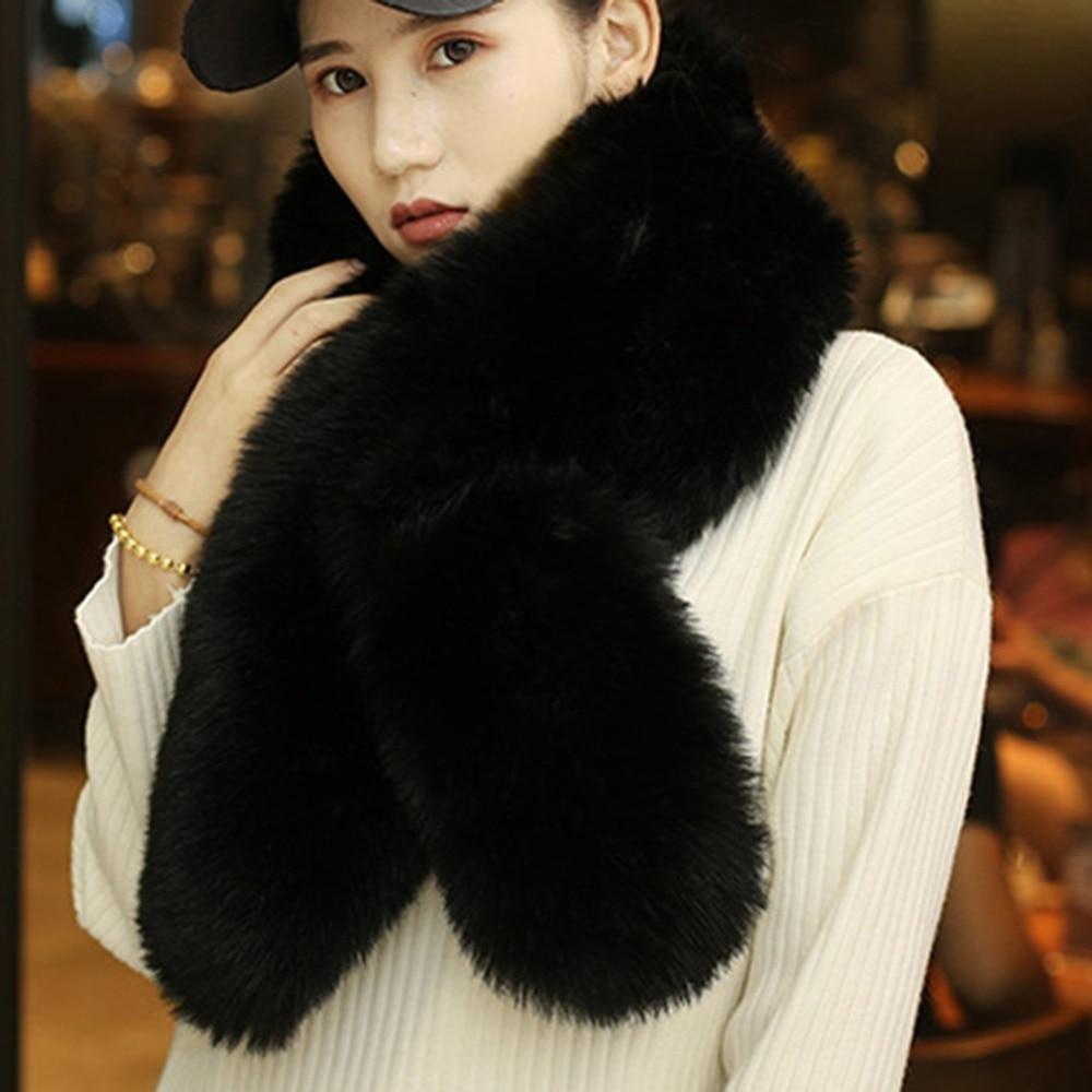 Women Large Soft Faux Fur Scarf Collar Winter Warm Fluffy Furry Shawl Multicolor Fashion Stole Scarves Good Quality 110*15cm