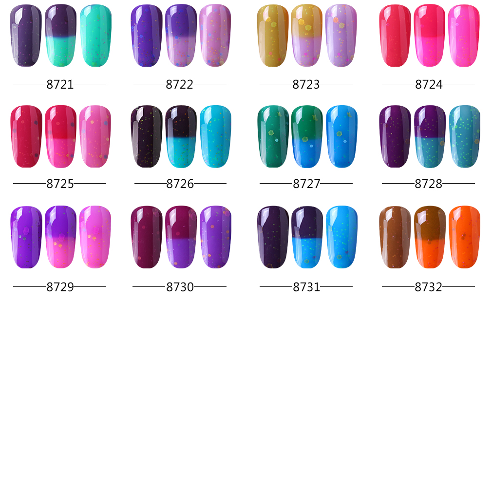 Elite99 Newest 10ml Cheese Mood Temperature Change Color UV LED Gel Soak Off Gel Color Changing Nail Polish