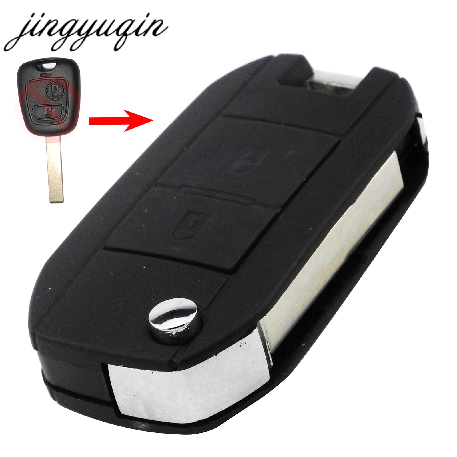 Jingyuqin VA2/HCA Car Flip Folding Key Shell For Peugeot 307 107 207 607 407 Modified Remote Entry Key Fob Case 2 Buttons