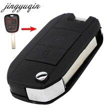 jingyuqin VA2/HCA Car Flip Folding Key Shell For Peugeot 307 107 207 607 407 Modified Remote Entry Key Fob Case 2 Buttons
