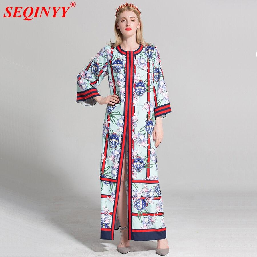 SEQINYY Retro kwiatowy sukienka druku paski wiosna lato nowy 2018 Fashion Runway Plus rozmiar XXXL 3/4 Flare rękawem luźna długa sukienka w Suknie od Odzież damska na  Grupa 1