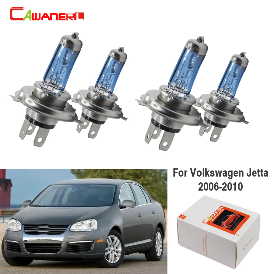 Cawanerl 4 Pieces 100W H7 Car Accessories Halogen Bulb Headlight Light High Low Beam 12V For Volkswagen <font><b>Jetta</b></font> Sedan 2006-2010 image