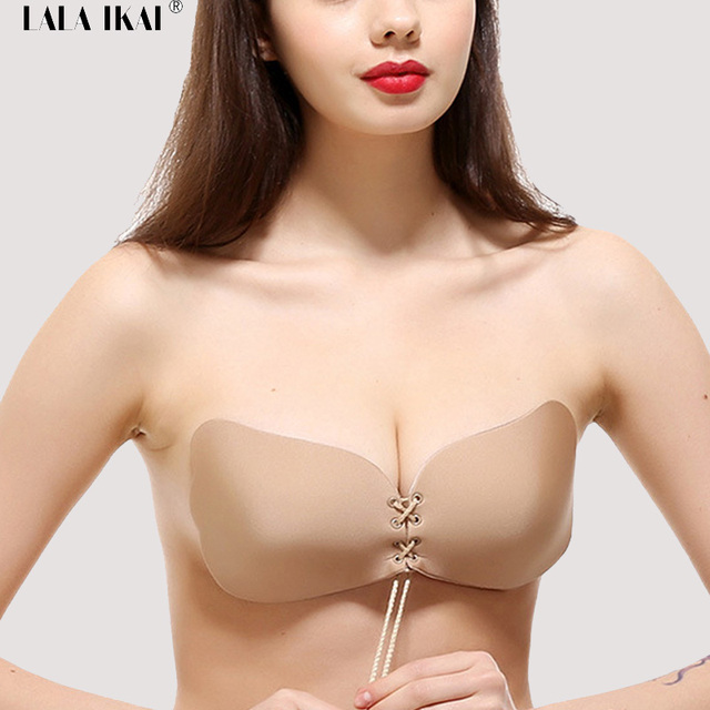 724a397ba931a 2017 Sexy Invisible Bra U Plunge Lace Up Party Backless Strapless Bra  Wedding Sticky Bra Woman Cross Ties Silicone SWU0008-45