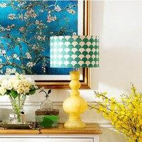 Mediterranean Sea American Rural Ceramic Fabric Led E27 Table Lamp For Living Room Bedroom Bedside Study