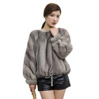 Short Genuine Fur Mink Coat Women Fashion Striped Casual Spring autumn Party Large Add fertilizer High end Mink Real Fur Clothes