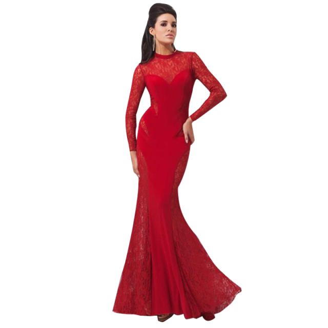 8ea1ce669e5c Long Red Dresses 2017 Long Sleeves Sexy Mermaid Lace Evening Dress Floor  Length Elegant Women s Prom Dress Plus Size 11041720