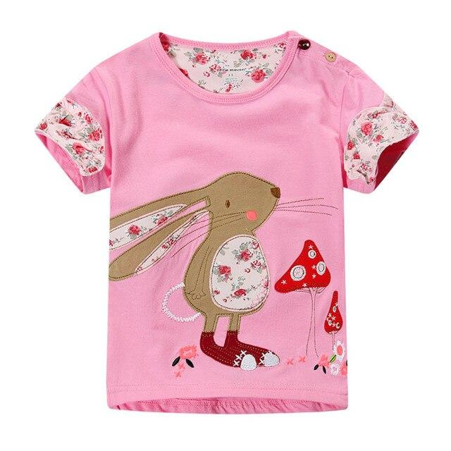Детские Футболки 2017 летние платья Кролик гриб патч хлопка с коротким рукавом Футболки с коротким рукавом рубашки дна