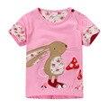 T-shirt do bebê 2017 vestidos de verão Coelho cogumelo remendo de algodão de manga curta T-shirt de manga curta camisa de assentamento