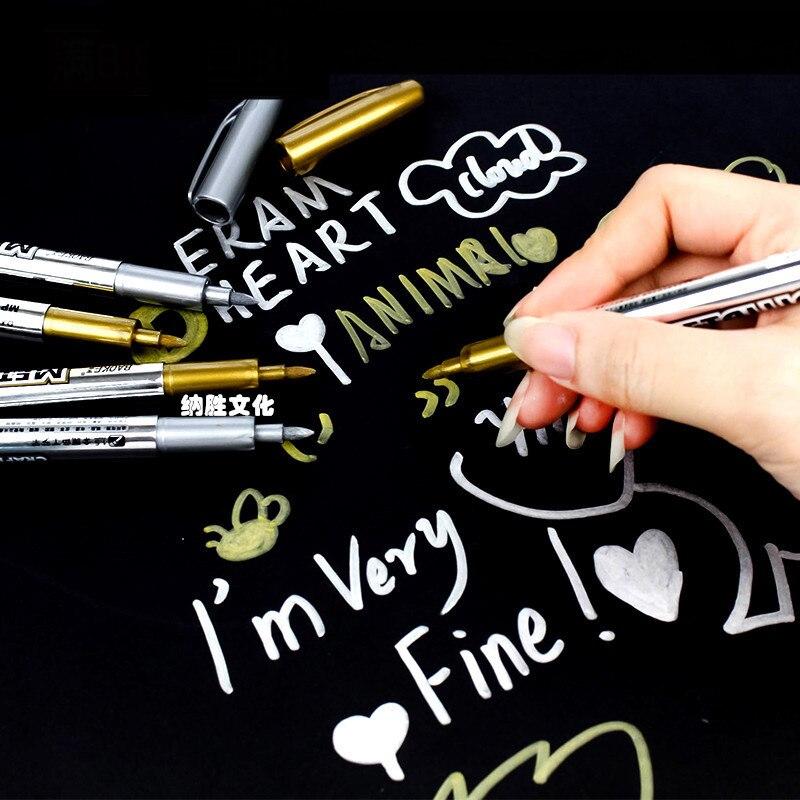 1pcs Gold Silver Metallic Color Pen DIY Paper Tag Photo Album Scrapbooking For Party Birthday Wedding Decoration Signing Pen