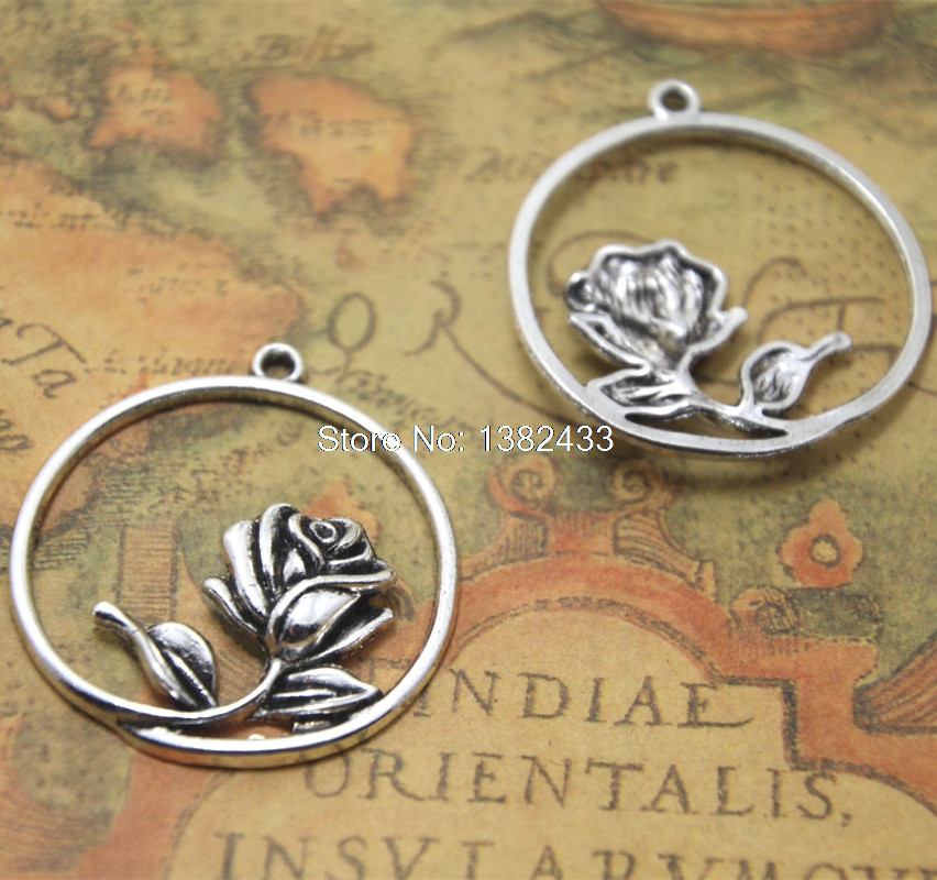 8pcs  beauty and the beast Rose Charms silver round rose charm pendant 36x34mm