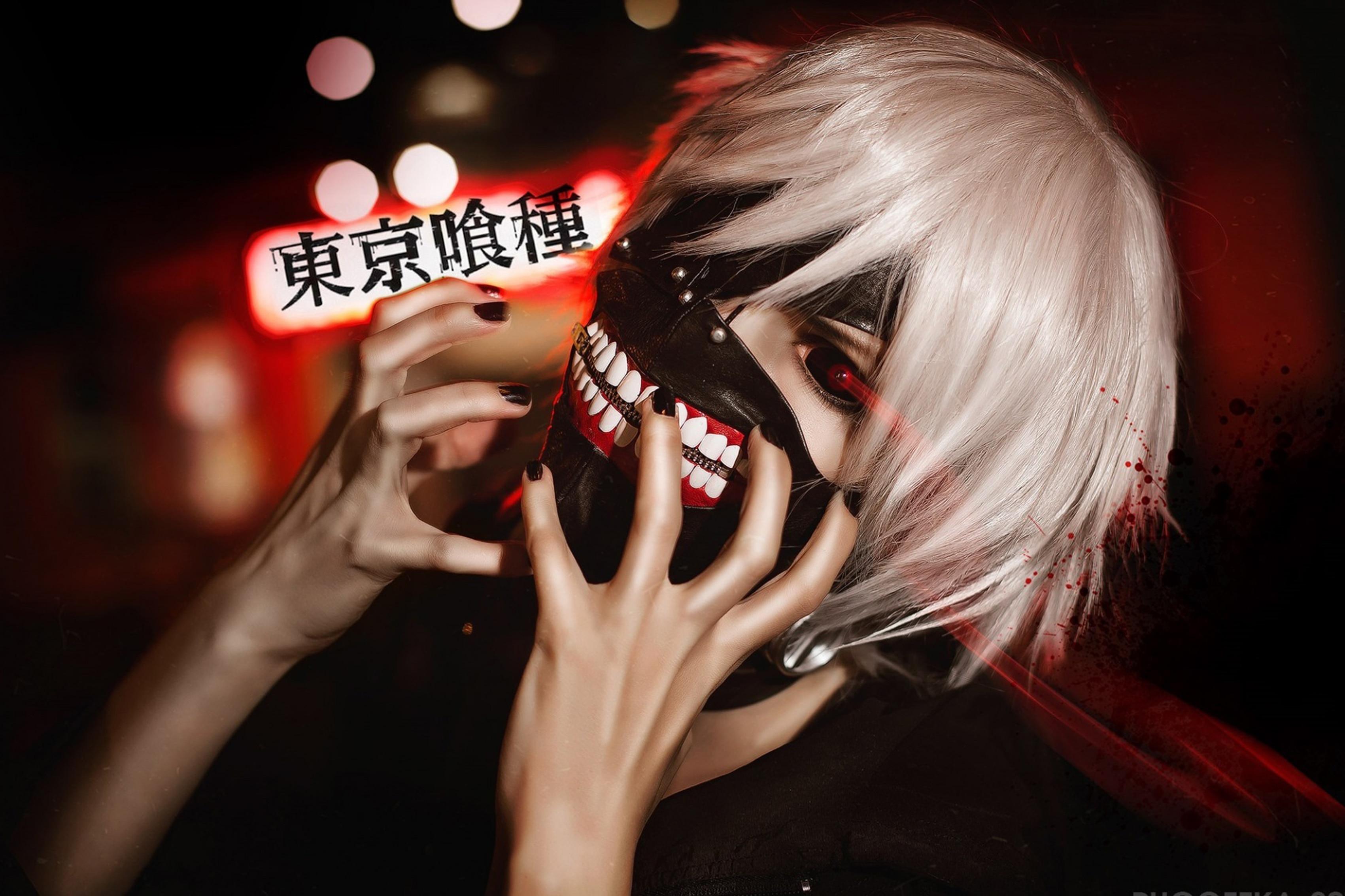 Home decoration Tokyo ghoul The Kaneko Ken mask cosplay guy Silk Fabric Poster Print CB32