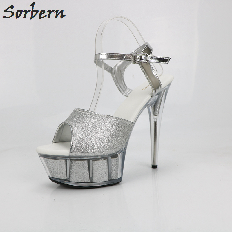 Sorbern Silver Glitter Ankle Strap Slingbacks Sandals Women High Heels 15Cm Clear Platform Summer Shoes Ladies Thin Shoes 2018 3 7v 2000mah lithium polymer lipo rechargeable battery cells power for pad gps psp vedio game e book tablet pc power bank 306070