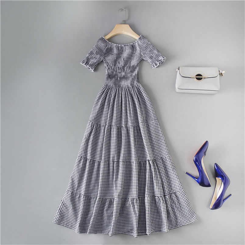 2019 элегантный тонкий с открытыми плечами клетчатый принт летнее модное платье эластичные сексуальные вечерние женские повседневные пляжные миди длинные платья