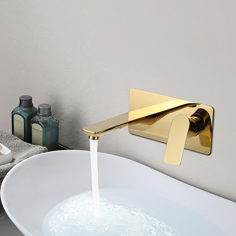 Basin Faucet Wall Mounted Gold/Chrome Bathroom Sink Faucet In-Wall Basin Spout Mixer Tap Set Combination Blanoir Solid Brass tapBasin Faucet Wall Mounted Gold/Chrome Bathroom Sink Faucet In-Wall Basin Spout Mixer Tap Set Combination Blanoir Solid Brass tap