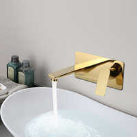 Basin Faucet Wall Mounted Gold/Chrome Bathroom Sink Faucet In-Wall Basin Spout Mixer Tap Set Combination Blanoir Solid Brass tap