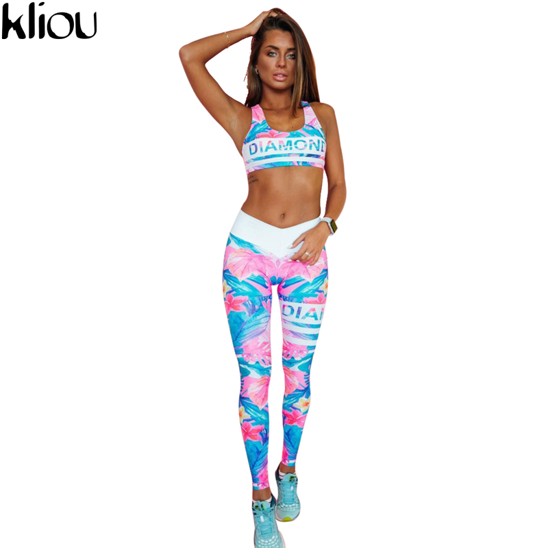 Kliou 2017 Retro Digital Printed letters workout Suit Fitness Tracksuit Women Set Female Sporting Bra Leggings 1