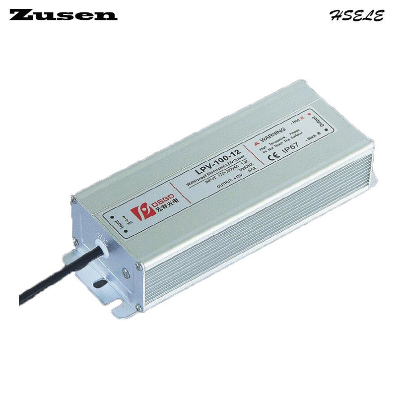 Zusen LPV-100W-24V 4.2A  LED waterproof Switch Power supply 90~260VAC to 24VDC IP67 meanwell 24v 60w ul certificated lpv series ip67 waterproof power supply 90 264v ac to 24v dc