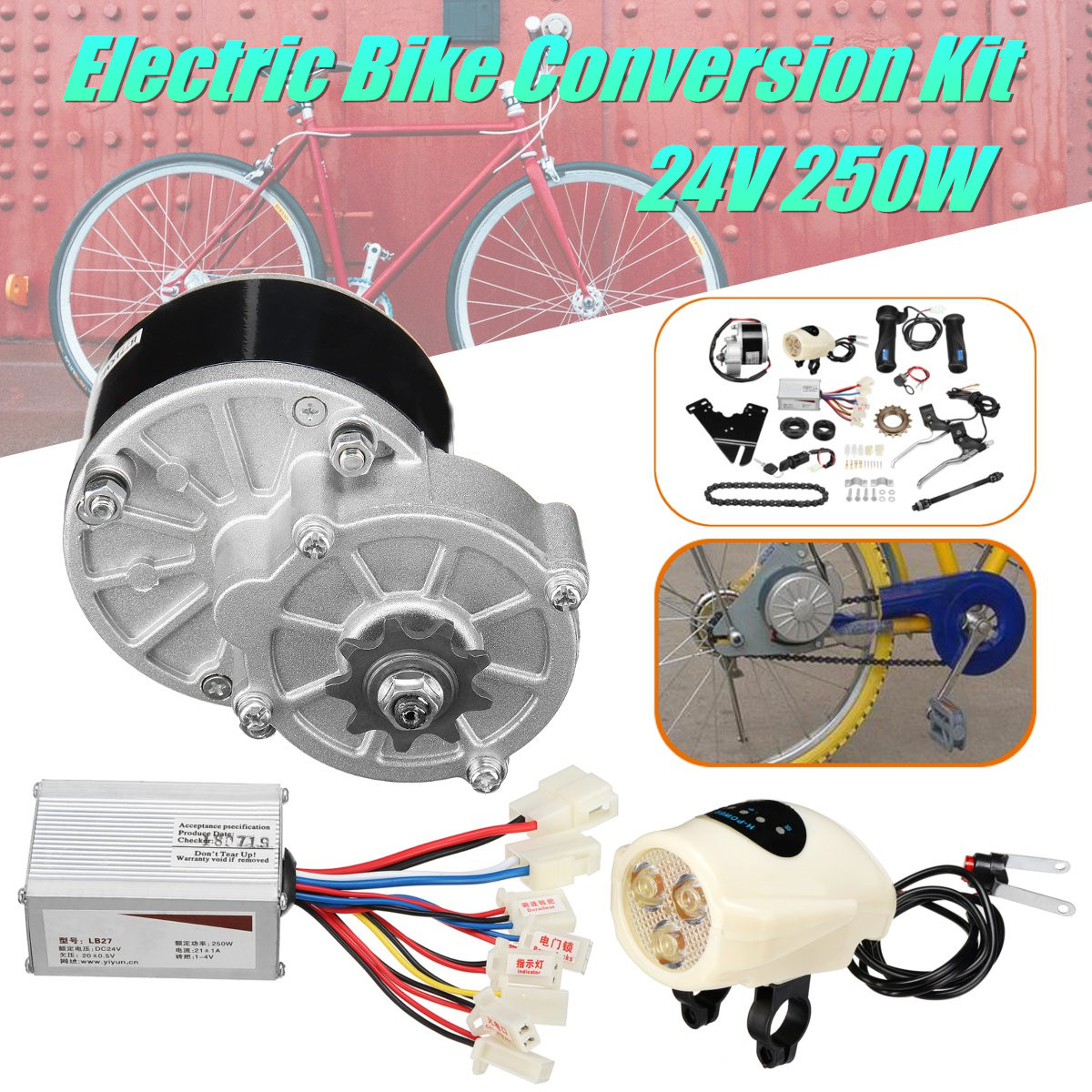 24V 250W Electric Bike Conversion Motor Controller Kit For 22-28'' Ordinary Electric Bike Conversion Kit my1016z2 dc 36v 250w diy 22 28 electric motors for bikes electric bike kit electric bike conversion kit
