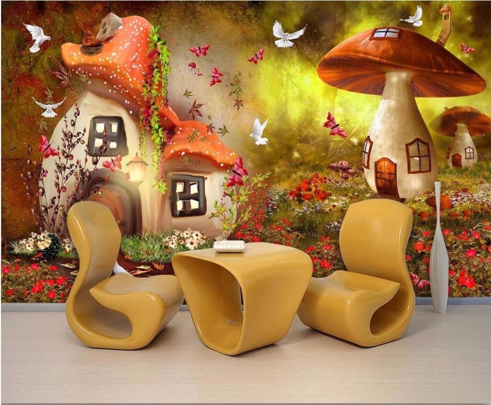 US $8 4 OFF Beibehang Papel De Parede Custom Wallpaper 3d Fairy Tale World Mushroom Wallpaper Children Room Background Wall Paper 3d Mural Wall