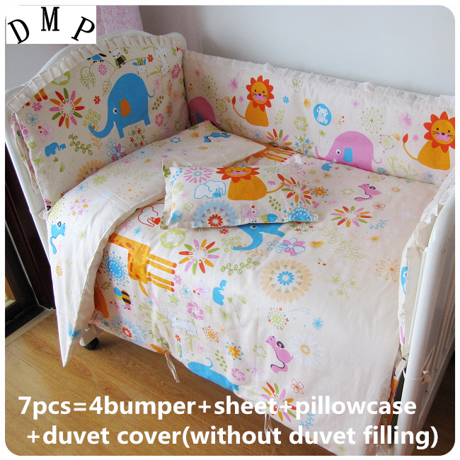 Promotion! 6/7PCS Baby bedding piece set,duvet cover, bed 100% cotton bed around fitted bed sheets , 120*60/120*70cm