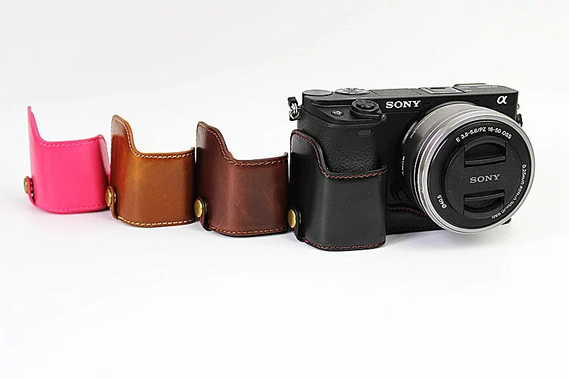 Coffee Sony A6400 PU Leather Half Case Cover