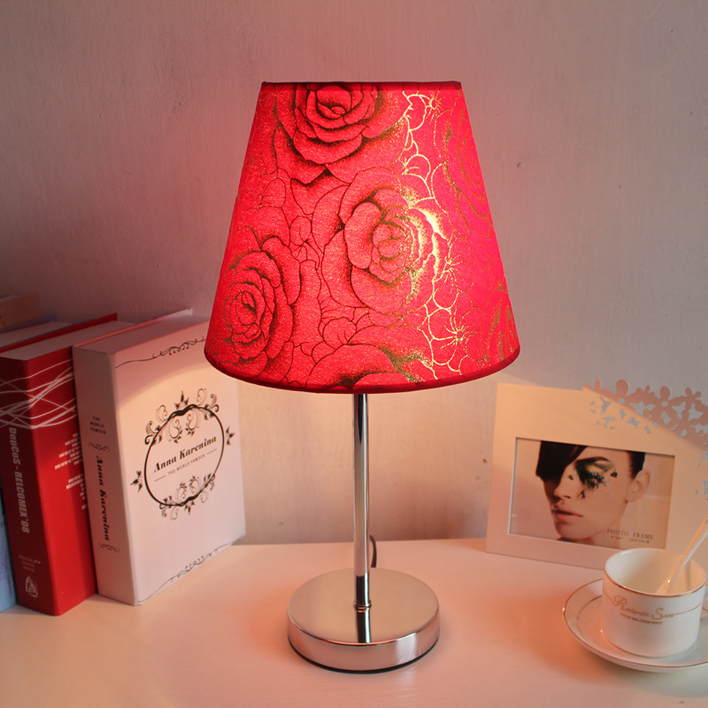 Modern simple table lamp Red Rose Dimming lamps table living room bedroom Bedside wedding deco Table lamp home deco luminaria