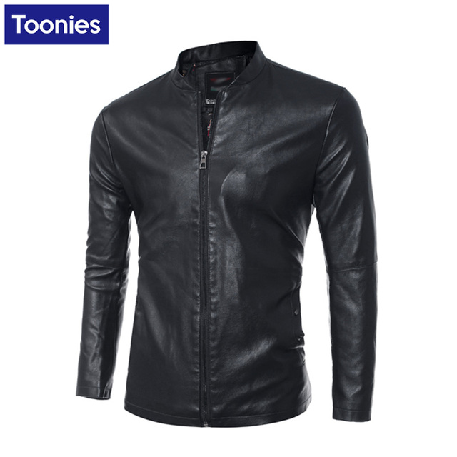 Winter Man 's Slim Pu Leather Long Sleeved Jackets 2016 New Male Fashion Casual Solid Color Pu Leather Coat Men Winter Jackets